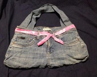 Upcycled blue jean shoulder bag