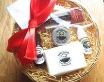 Beard care & grooming gift set basket hamper - Sandalwood Amyris - Taming balm, conditioning oil, soap, shampoo, Kent comb. Men's beard gift
