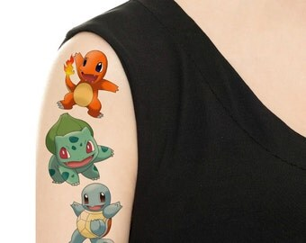 Temporary Tattoo -  Pokemon Set or Single Pokemon/ Charmander / Squirtle / Bulbasaur / Butterfree / Vaporeon / Pikachu