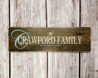 Gift for Newlyweds, Family Established Sign, Wedding Gift Last Name Established, Rustic Family Established Sign, Custom Family Wood Sign