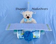 Unique Boy Diaper Cake - Airplane Diaper Cake - Baby Shower Centerpiece - Unique Baby Boy Gift