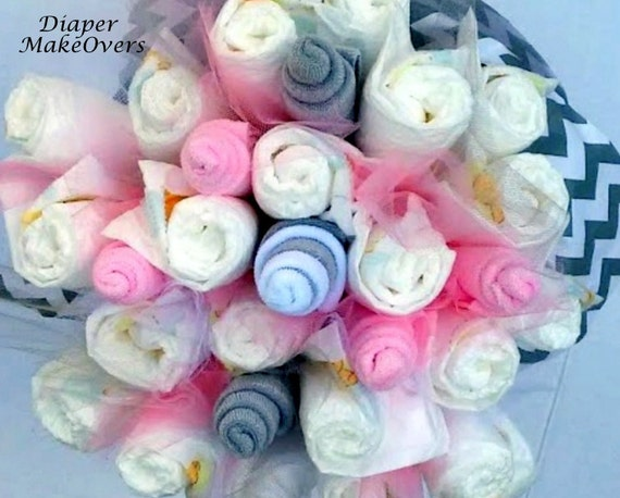 Diaper flower bouquet pink and gray chevron unique baby for Pink diaper bouquet