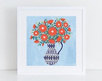 Jug of Orange Flowers Art Print | Giclee Print | Floral Illustration | Wall Art | Still Life | Folk Art | Gift For Her | Home Decor