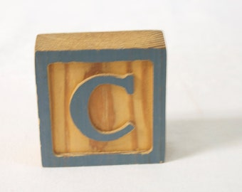 Vintage Large Wooden Letter Block C