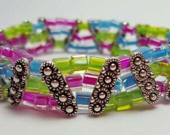 One of a kind, 3-strand blue, green & pink glass beaded, stretch bracelet