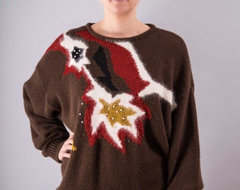 Vintage Long sweater with art print - Carla