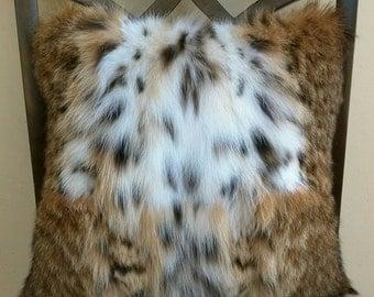 Genuine Bobcat Fur Handmade Decorative Pillow Cover. 14 x 14 Includes insert