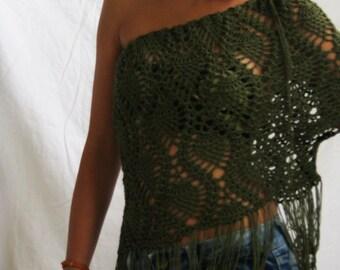 Handmade crochet olive green summer#beach#festival#one shoulder#top#blouse