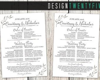 Simple Rustic Wedding Program // 5x7// Single-Sided Program or Program Fan // The Courtney Collection