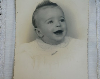 Vintage baby photography. Ephemera.Black and white. Collectible.Scrapbooking.Antique baby.1944 photo.vintage paper.antique baby photo.