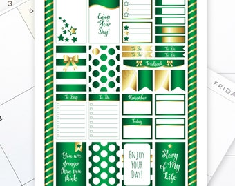 All Pro Green and Gold Printable Planner Stickers for the Classic MAMBI Happy Planner