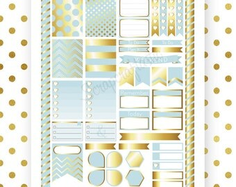 Sky Blue & Gold Printable Planner Stickers for Erin Condren Life Planner