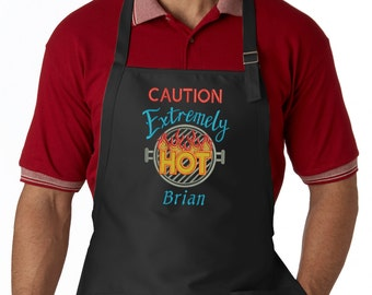 Personalized Men's Apron, Caution Extremely Hot, Custom BBQ Apron