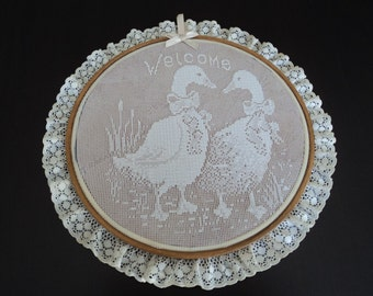 Vintage French doily wall hanging in a wooden frame  (00204)