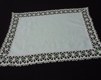 REDUCED Vintage French green linen and crochet lace doily  (01956)