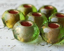 Luster Golden Green, Roller Beads, European Beads, sb0471