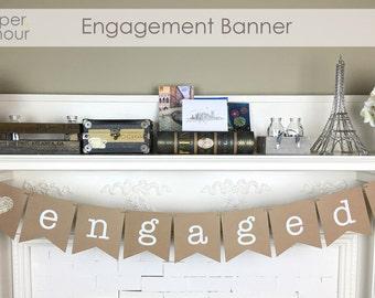 Engaged Banner | Engagement Decorations | Bridal Shower Banner | Gold Glitter | Kraft Paper
