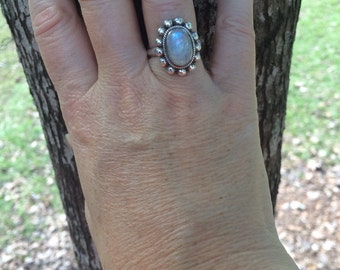 Rainbow moonstone ring/7.5