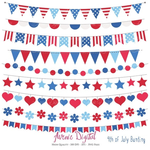 patriotic bunting banner clipart scrapbook printable vector banners eps red white blue clip art 4th of july flag banner from on etsy