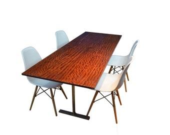 Modern Dining table, Bubinga Dining table, Solid exotic wood, custom made steel legs
