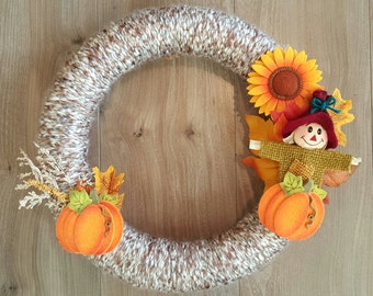 Scarecrow Fall Yarn Wreath