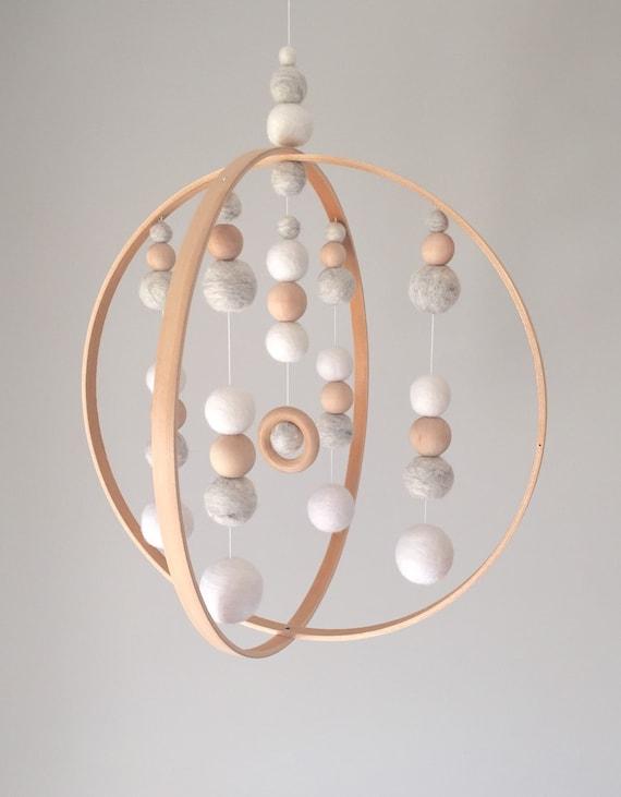 custom no 5 modern orb neutral baby feltball mobile. Black Bedroom Furniture Sets. Home Design Ideas