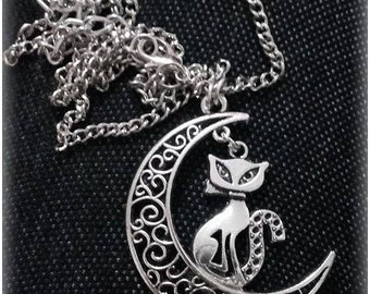 Gothic necklace kitty on the moon