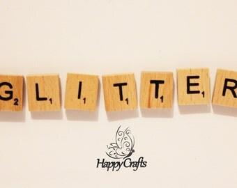 Wooden Letter Magnet Word Glitter
