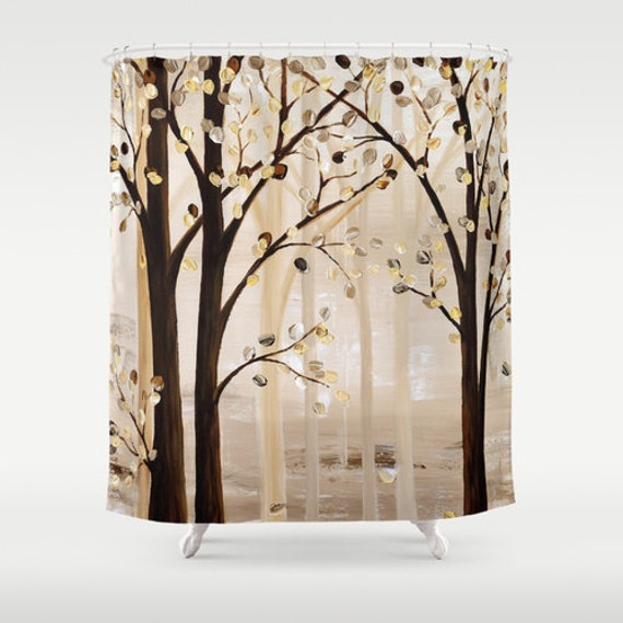 Art Shower Curtain Brown Shower Curtain, Beige Cream Abstract Curtain ...