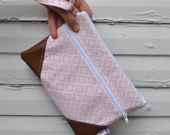 Light Pink Diamonds Wristlet