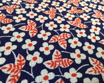 Vintage 60s fabric 50x120cm: flower red white
