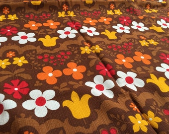 70s fabric 50 x 100: flowers Brown curtain fabric cupboard 3