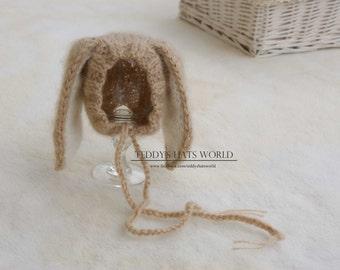 Newborn Baby Bunny Hat, Bunny Bonnet, Baby Easter Hat, Baby Bunny Hat, Newborn Knitted PHOTO PROP, Funny Hat for Newborn