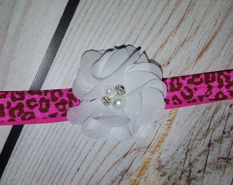 SALE- Hot Pink Animal Print Headband, Cheetah Print Headband, Baby Headband, White Flower Rhinestone Headband
