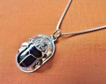 Antique Egyptian Sterling Silver Pendant Necklace Chain of Ancient Scarab Beetle..STAMPED