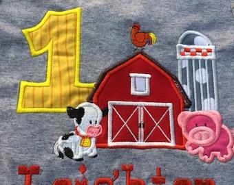 Farm animal birthday shirt