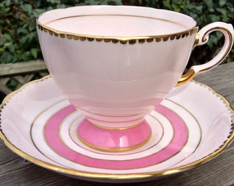 Pink Rocks! Gorgeous Pink, Gold Rimmed Tuscan Teacup and Saucer