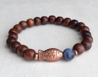 FREE US SHIPPING  Men's bracelet  Sodalite and wood bracelet Beaded bracelet Abundance and prosperity bracelet Gift for him   (#59)