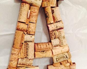 Wine Cork Letter A; Cork Letter A;Wedding Decor; Vineyard Wedding; Home Decor;Wine Cork Crafts