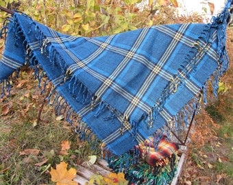 Blue wool checkered pattern vinteage scarf, USSR vintage wool scarf, Warm gift for christmas, Chechered shawl for gift, scarf for winter