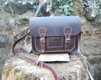 Leather satchel  waxed bullhide