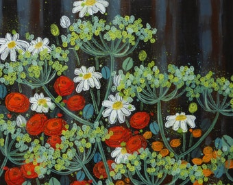 Original acrylic painting - summer flowers and tin shed
