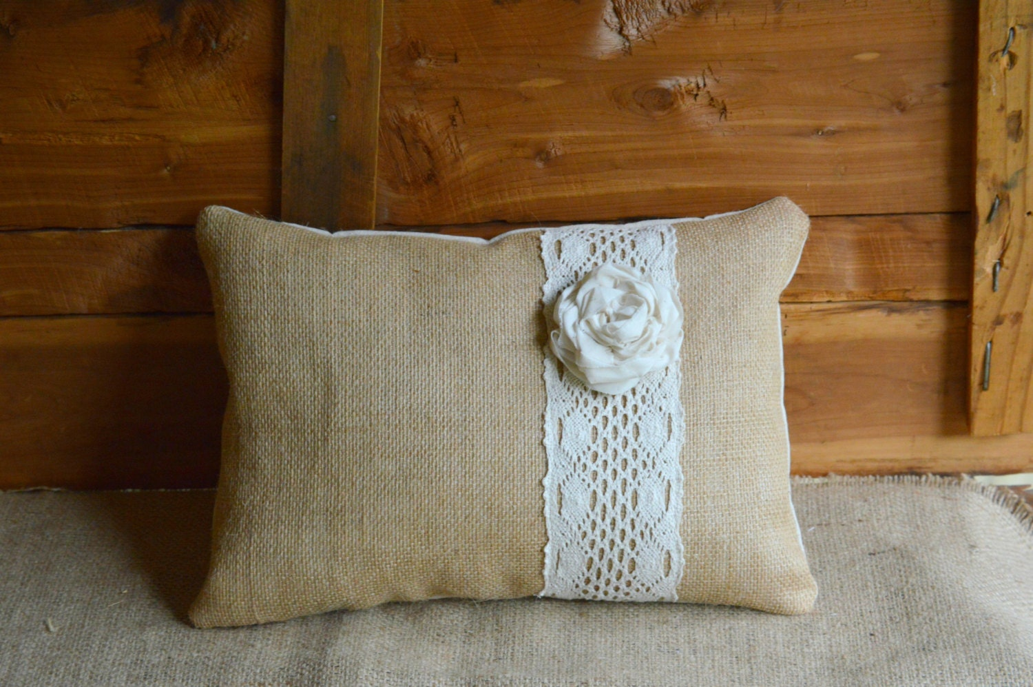 Burlap And Lace Pillow Rustic Home Decor Farmhouse Shabby Chic