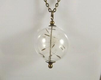 Collar back, bubbles, glass globe necklace flowers, little dandelion seeds drop bronze metal