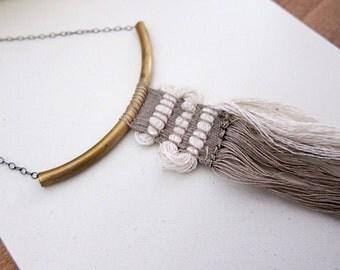 Woven fiber art necklace in creamy neutrals- tassel jewelry - textured fiber statement necklace - warrior necklace