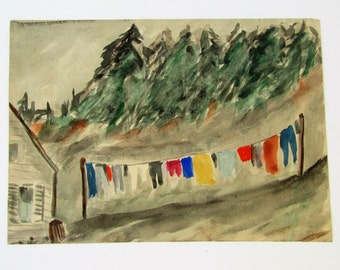 1960 Original Watercolor, Summer Clothesline