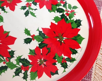 Christmas Tray, Poinsettia Round Metal Serving Tray, 14""