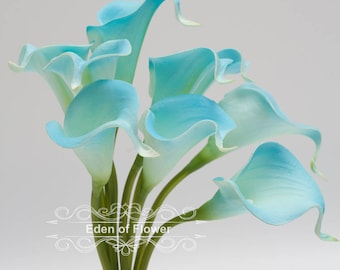 Natural Real Touch Calla Lilies Bouquet for Wedding Bridal Bouquets, Centerpieces, Decoration Light Blue Turquoise