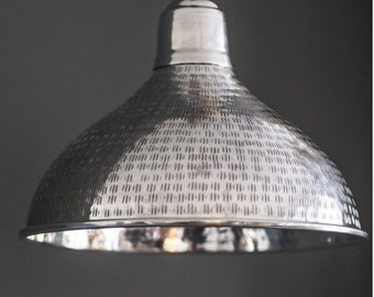 Etched Silver Pendant Light.  Vintage Shade. M0026