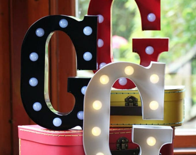 Vintage Metal Fairground Marquee Light up Letter G Light - Various Colours/Battery Operated - Perfect Night Light/Gift/Bedroom/Wedding Decor